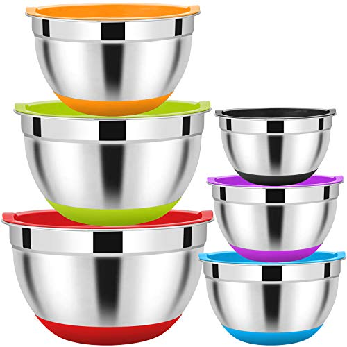Mixing Bowls Set of 6, HaWare 100% Stainless Steel Nesting Bowls Set with...