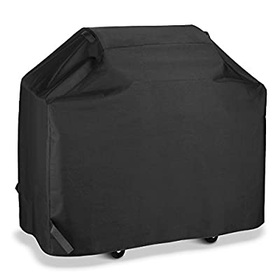 """SunPatio Outdoor Gas Grill Cover 50""""/55""""/60""""/65""""/70"""" for Weber, Charbroil, Nexgrill and More, Heavy Duty Weatherproof Fabric,Black"""