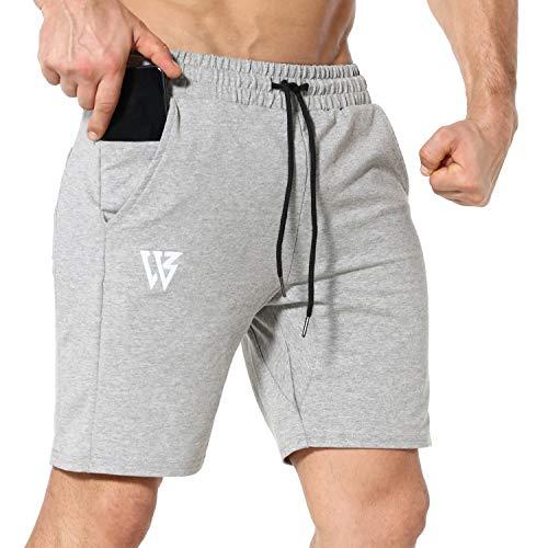 Pantalones Cortos Hombre Deporte de Running Gimnasio Pantalón Correr con Bolsillos con Cremallera (M, Gris Claro)