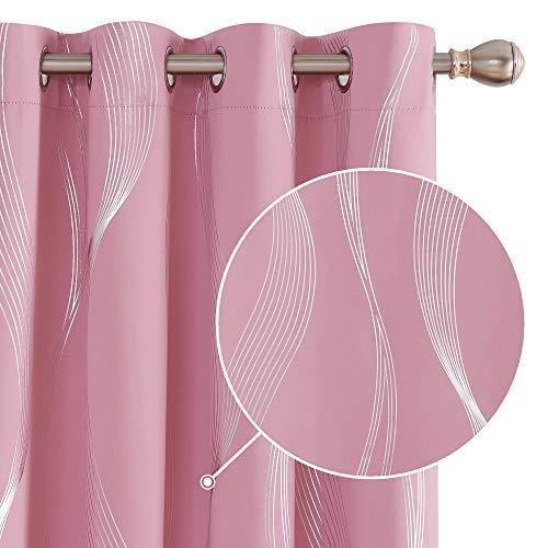Deconovo Verdunklung Gardinenschal Modern Schallschutz Schlafzimmer Mädchen Vorhänge 240x140 cm Rosa 2er Set
