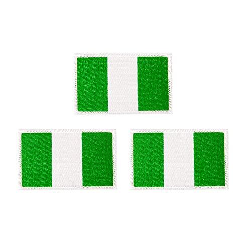 Aufnäher mit Nigeria-Flagge, 3er-Pack, 3,5 B x 2,25 H, zum Aufbügeln oder Aufnähen, bestickt, taktische Moral, Rucksack, Hut, Taschen, nigerianische Flagge, 3er-Pack