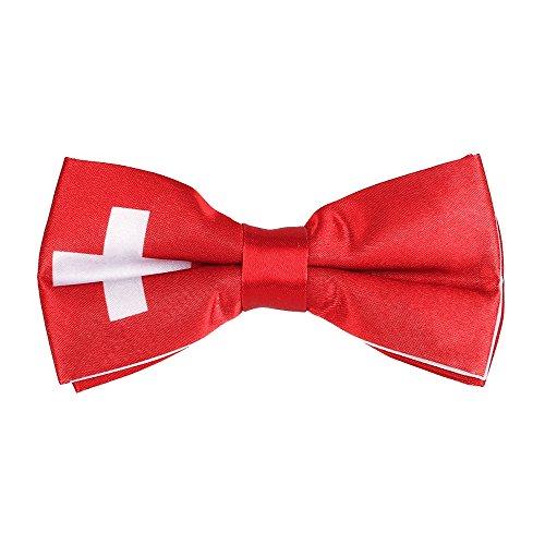 CravateSlim Noeud Papillon Drapeaux du Monde - Noeud Papillon Homme Prénoué (Drapeau Suisse)