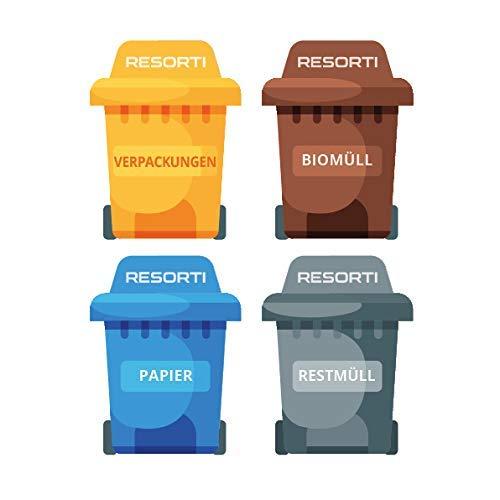 Resorti Aufkleber 4er Set für Abfall- und Mülltrennung Motiv Mülltonne (Restmüll, Gelber Sack, Biomüll, Papier-Müll)