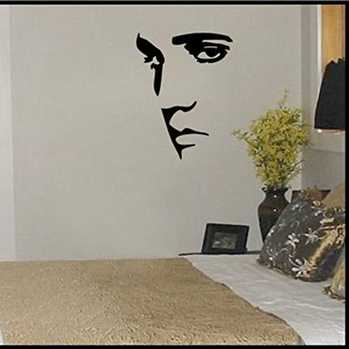 Elvis Presley Wandtattoo, Vinyl, für Porträt, Gesicht, Wand, Kunst, Wandsticker, für Zuhause, Schlafzimmer, Dekoration, 58 x 46 cm