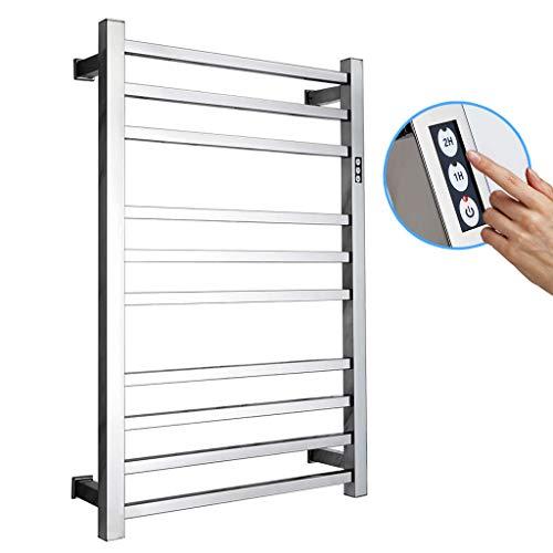 GXFC Radiador toallero eléctrico, Calentador de Toallas de Pared de Acero Inoxidable Secador con Temporizador, Tubo Cuadrado/Tubo Redondo, Opciones Cableadas y enchufables, 780 x 500 mm