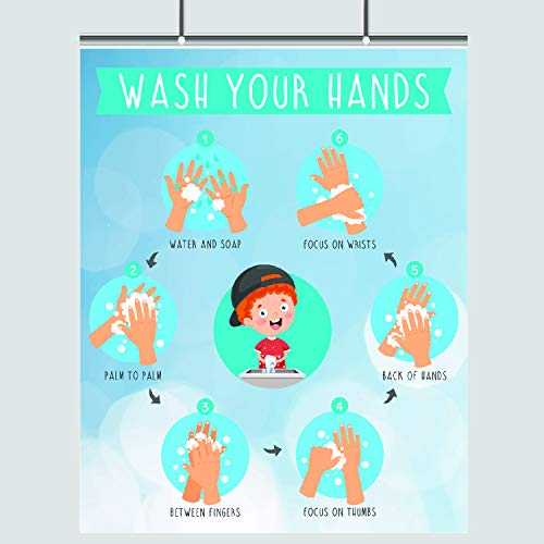 Hand Washing for Kids – Step by Step – 16 x 20 – Wash Your Hands – Germs Print – Cold and Flu –Bathroom Decor – Wall Print – Bathroom Art – Hygiene Poster – Health Class – Coronavirus – Schools