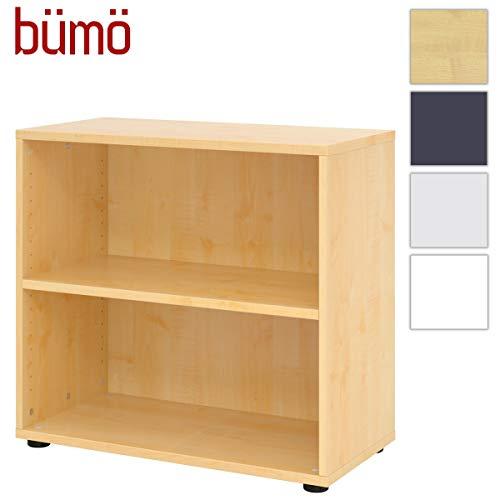 bümö® smart Aktenregal aus Holz | Büroregal für Aktenordner | Büro Regal System für Ordner | Bücherregal inkl. Einlegeböden (Ahorn, Breite = 80 cm | 2 Ordnerhöhen)