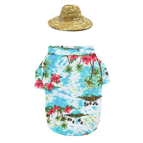 iplusmile Haustier Hawaii Hemd - Haustier Sommer Hemd Kappe Setzt Druckhemd Make-Up Kreative Schöne Lustige Druckhemd für Haustier (Blau Xs Größe)