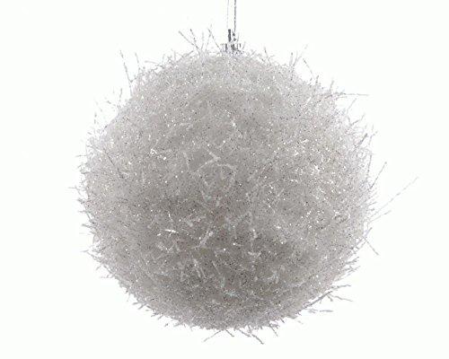 Kaemingk Boite de 3 Boules de Neige Cheveux d'Ange a Suspendre 8cm Blanc/Paillettes