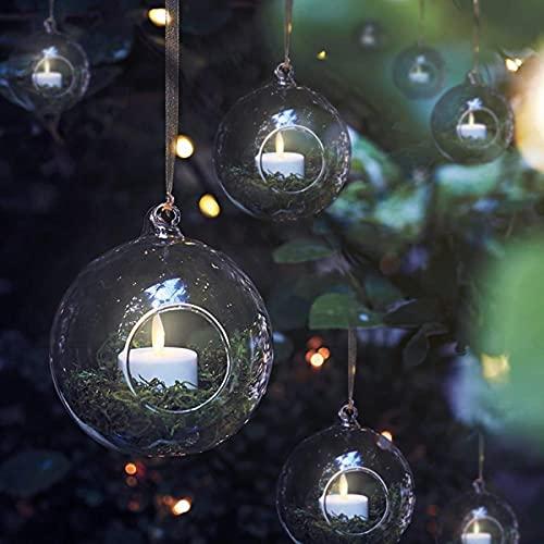 WayGlory Portavelas de cristal para colgar, portavelas de té, portavelas LED, terrarios,...