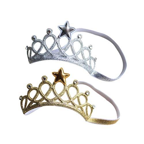 Toyvian 2 Piezas Bebé Tiara Corona Elástica Estrella Diadema Tocado de Cumpleaños Suave Headwrap Foto Prop para Niños Baby Shower Accesorios para El Cabello (Plata Dorada)