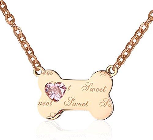 huanianjewelry mujeres del acero inoxidable 18K oro rosa el perro un hueso colgante collar para...