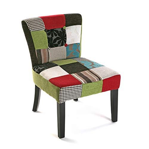 Versa Bl/Gr Patchwork Silla Acolchada tapizada para Salón o Comedor, Madera, Negro, Verde, Azul Gri