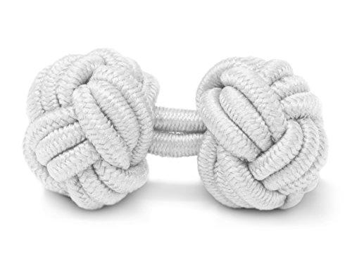 Gemelos Camisa De Hombre y Mujer - Nudo De Tela Seda - 1 Par Botones Elasticos Originales Baratos Para Puño Doble Frances Traje En Blanco