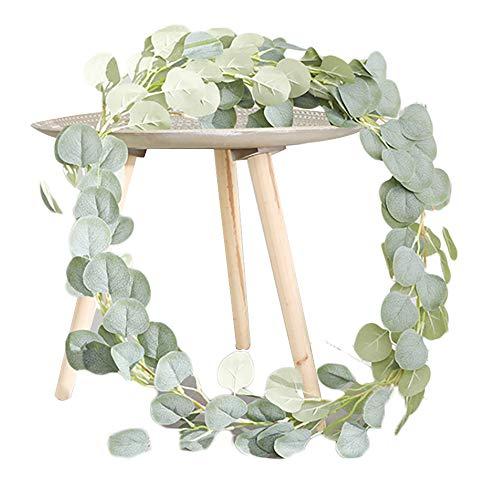Lumierechat フェイクグリーン 造花グリーン 造花 ユーカリ ガーランド 人口観葉植物 壁掛け 吊り 観葉植物 葉 a-b7624(1.8m/ヴィンテージグリーン)