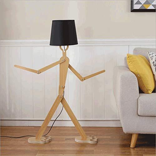 GaLon Nordic moderne creatieve houten vloerlamp robot, unieke lampenkap, slaapkamer-accitude verstelbaar