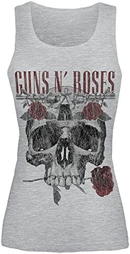 Guns N' Roses Flower Skull Top Mujer Gris S