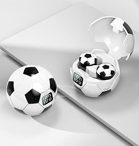 YZQ Estilo De Fútbol Auriculares Inalambricos Bluetooth,Cascos Gaming Deportivos Auriculares Estéreo Biauriculares Internos con Cancelación De Ruido para Corr Juegos,Blanco