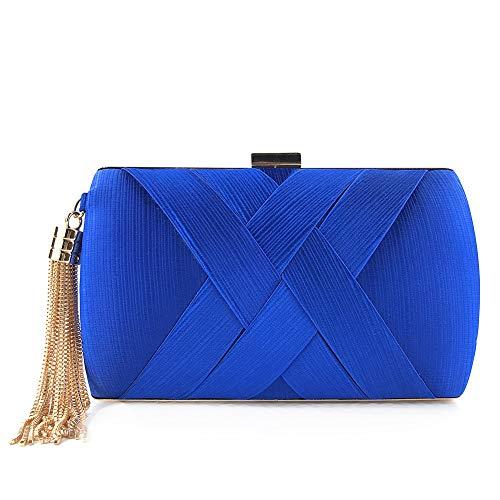 Elegantes bolsos de las mujeres de la borla colgante del partido de tarde de seda de novia de la boda del embrague del monedero del bolso de raso azul muy asequibles y útiles de bolsos, carteras