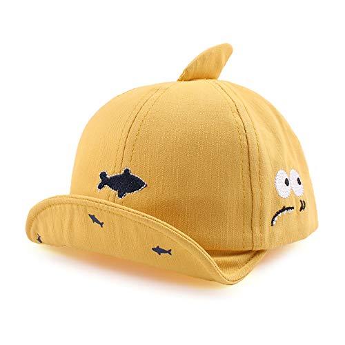 XIAOHAWANG Coton Fille Garçon Bébé Casquette Réglable Chapeau de Soleil pour Bébé Printemps Été Bonnet 3 à 12 Mois (Jaune, 3 à 12 Mois)