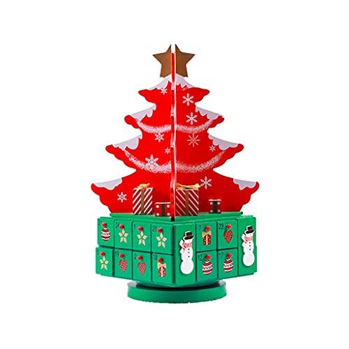 JJH Calendario de adviento de Madera 24 días, Caja de Regalo de árbol de Navidad giratoria, calendarios de la Cuenta Regresiva de Navidad 2021, Adorno Decorativo de Escritorio