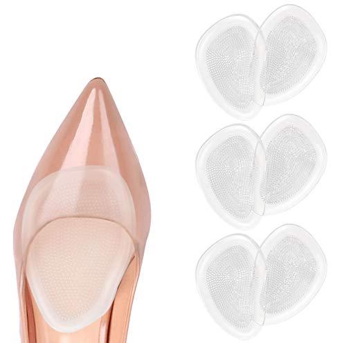 URAQT Plantillas de Zapatos con Tacón Alto Proteger los Pies, Almohadillas para los pie, Medio plantilla para Alivio el Dolor en el Antepié 3 Pares
