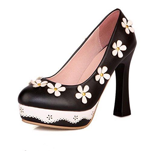 Odomolor Damen Hoher Absatz Rein Ziehen auf Weiches Material Rund Zehe Pumps Schuhe, Schwarz, 42