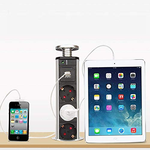 Multipresa da tavolo, multipresa retrattile con 4 prese, presa di corrente con caricatore USB, presa integrata per officina di cucina di ufficio, 220 V