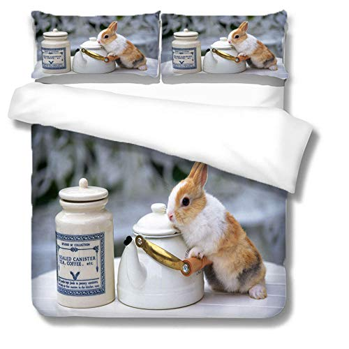 Quilt Set Super King Size 260x220 CM - Teapots & Rabbits & Cormorants - 100% Microfiber Cosy 3D Printed Duvet Cover with Two Matching Pillowcases 50x75 / 50x90cm for Adult Teenage