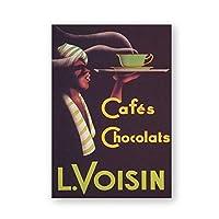 カフェショコラヴィンテージポスタープリントコーヒー広告ウォールアートキャンバス絵画写真コーヒーショップの装飾用キャンバスに印刷50x70cmフレームレス