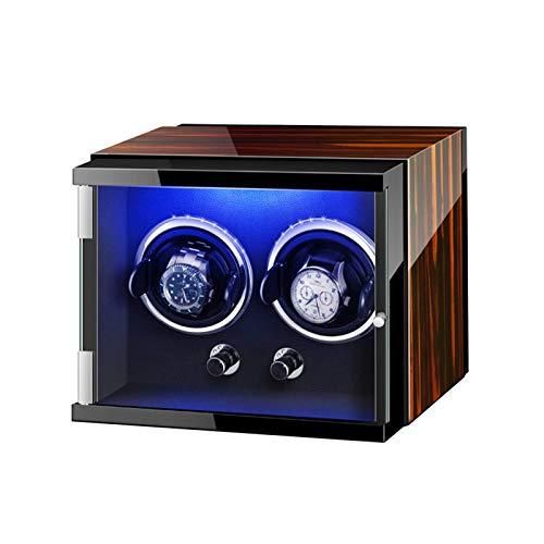 AMAFS Caja doble de la devanadera del reloj para el reloj automático con luces coloridas almohadas ajustables del reloj silencioso del motor