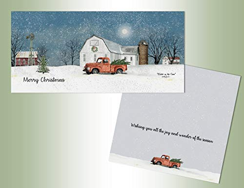 LPG PERFORMING ARTS BOXED CHRISTMAS CARDS Red Truck in Winter Long Non-flake Glitter Embellished Boxed Christmas Cards with Full Color Inside Designs (14 glitter cards, 14 envelopes) (66261)
