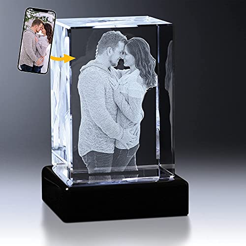 Crystal Impressions 3D Crystal Photo Gift – Custom Photo Engraved Crystal; Personalized Gift for Birthday, Wedding, Anniversary; LED Base and Gift Box Included