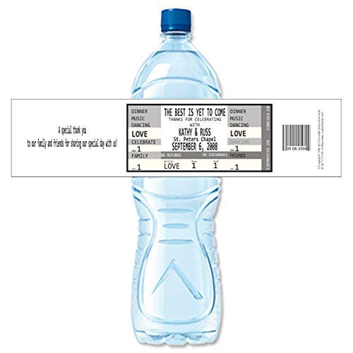 Wedding Ticket Personalized Water Bottle Labels (set of 24)