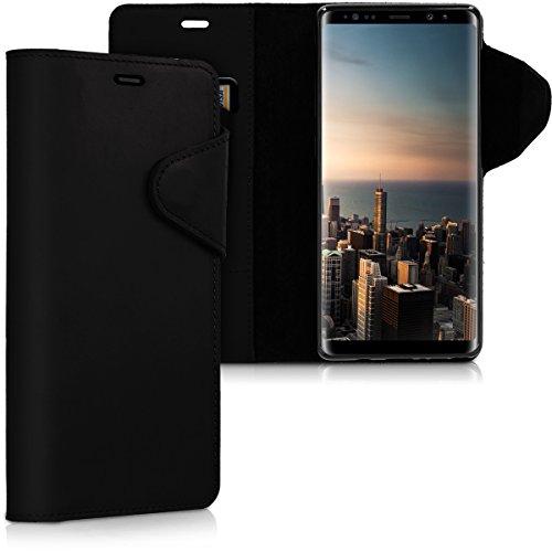 kalibri Hülle kompatibel mit Samsung Galaxy Note 8 DUOS - Leder Handyhülle - Handy Wallet Hülle Cover in Schwarz