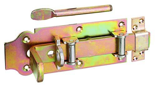 GAH-Alberts 118815 Stalltür-Rollen-Schlossriegel | gerade, mit flachem Griff und befestigter Schlaufe | galvanisch gelb verzinkt | Platte 200 x 80 mm