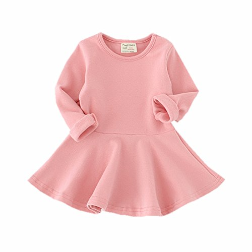 Infant Toddler Baby Girls Dress Cozy Ruffles Long Sleeves Cotton (2-3Year(3T), Pink)