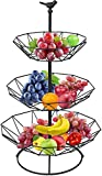 Widousy Three Tier Countertop Metal Fruit Basket, Household Storage Rack for Storing & Organizing Fruits Vegetables Snacks (Black)