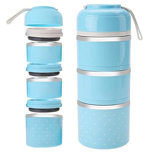 3 Schicht stapelbar Isolierte Lunchbox Edelstahl Bento Box Isolierte Lunchpaket Lebensmittelbehälter für Mädchen(Blau)