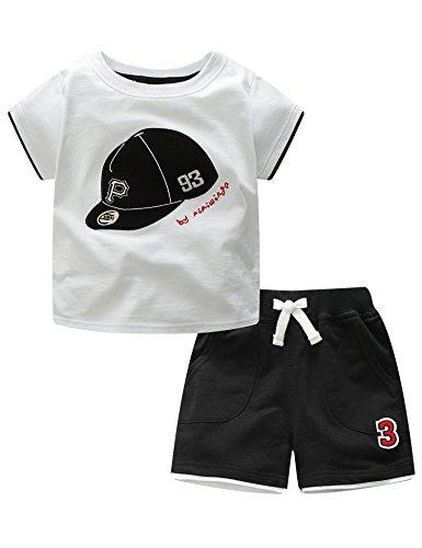 マクスリンディー Ma×Lindy キッズ 子供服 野球帽子柄 男の子 女の子 半袖Tシャツ 半ズボン 綿100% 普段着 旅行 出産祝い 1-5歳 品質認証 白い,90CM