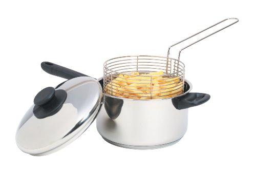 KitchenCraft Großer Pommes-Topf mit Frittierkorb und Deckel, für Induktionskochfelder Geeignet, Edelstahl, Silber, 20 cm