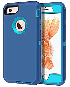 I-HONVA for iPhone 6s Case iPhone 6 Case Built-in Screen Protector Shockproof Dust/Drop Proof 3-Layer Full Body Protection Heavy Duty Durable Cover Case for Apple iPhone 6/6s 4.7-inch Turquoise