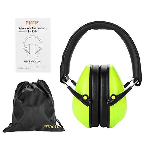 Baby Ear Muffs, FITNATE Safety Infant Ear Protection, NRR26, SNR29 Professional Noise Reduction Adjustable Head Band Ear Defenders for Babies, Toddles and Kids (Green),with Dustproof Bag Bag