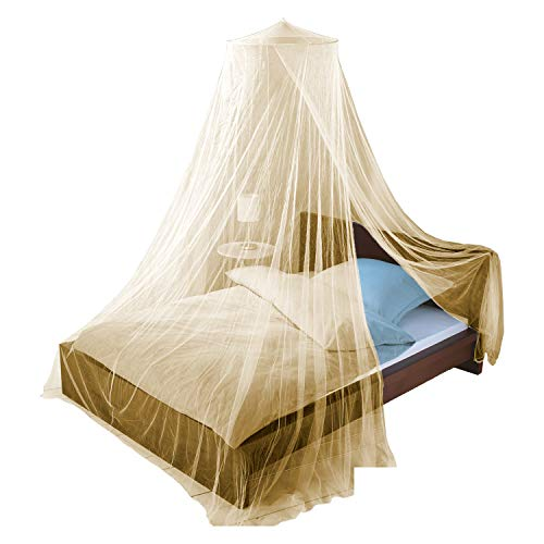 Just Relax Mosquito NET, Elegant Bed Canopy Set Including Full Hanging Kit, Ideal for Indoors or Outdoors, Intended for a for Covering Beds, Cribs, Hammocks (Beige, Queen/King)