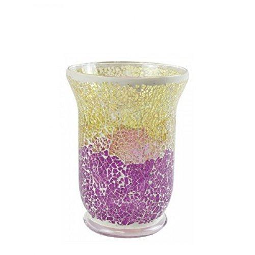 YANKEE CANDLE Purple & Gold Smashed Mosaic Portacandele Con Supporto, Gold/Lila Transparent, 22.5 X 16 X 16 Cm