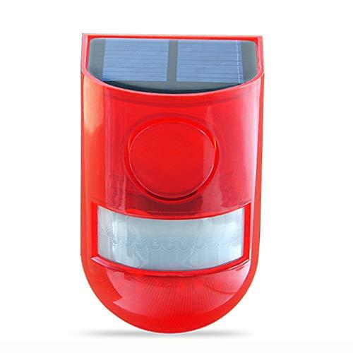 SZYOUMY Solar Powered Sound Alarm Strobe Light Flashing 6LED Light Motion Sensor Security Alarm System 110dB Loud Siren for Home Villa Farm Hacienda Apartment Outdoor Yard Day Night Mode