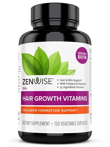 Zenwise Hair Growth Vitamins - 5000 mcg Biotin & DHT Blocker Hair Loss Treatment for Men & Women - 2...
