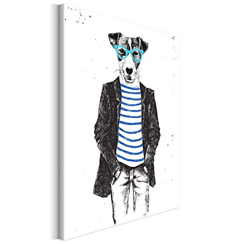 Revolio 50x50 cm Leinwandbild Wandbilder Wohnzimmer Modern Kunstdruck Design Wanddekoration Deko Bild auf Leinwand Bilder 1 Teilig - Hund Sonnenbrille Mann Grafik schwarz