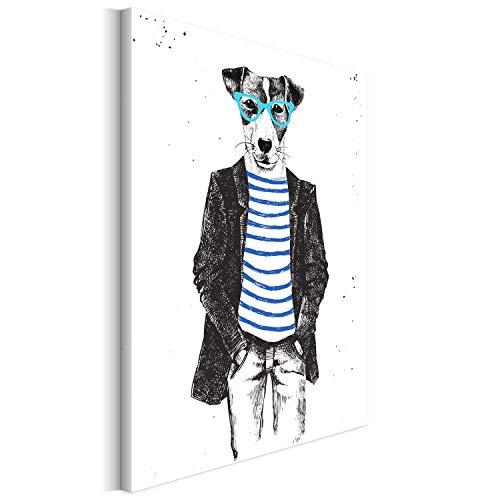 Revolio 50x70 cm Leinwandbild Wandbilder Wohnzimmer Modern Kunstdruck Design Wanddekoration Deko Bild auf Leinwand Bilder 1 Teilig - Hund Sonnenbrille Mann Grafik schwarz