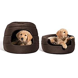 Best Friends by Sheri Convertible Honeycomb Cave Bed, Cozy Covered Dog & Cat Tent Great for Your Small Pet & Puppy, Easily Convert into Round Open Cuddler – Removable Insert + Machine Washable